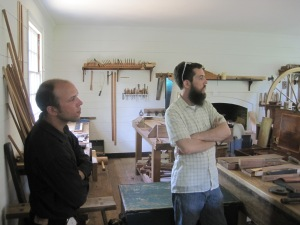 Luke and Phil learning about furniture making
