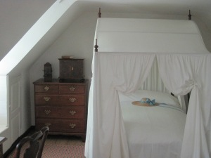 Bedroom - ready to step into Jane Austen film. I especially love the locked spice cabinet on the dresser.